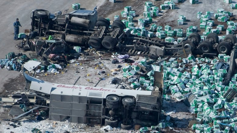 Canadian hockey team bus crash truck driver