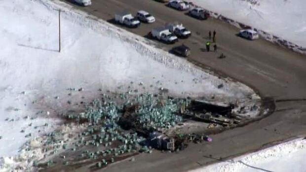 Aerial video of Humboldt Broncos bus crash wreckage
