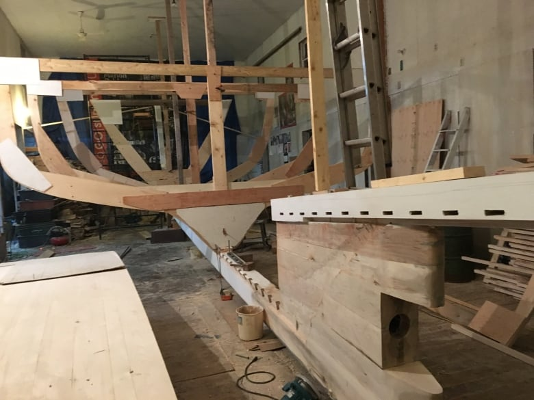 Huge wooden boat being built 'old school' on P E I    CBC News