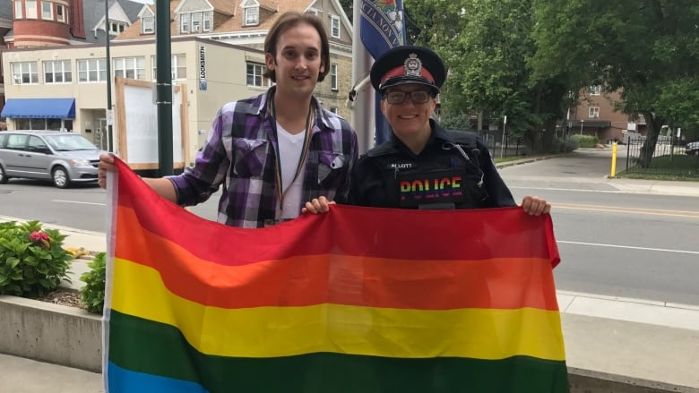 Pride London President Andrew Rosser and London Police Diversity Officer  Theresa Allott raising the pride flag at police headquarters in London c83ab1b40