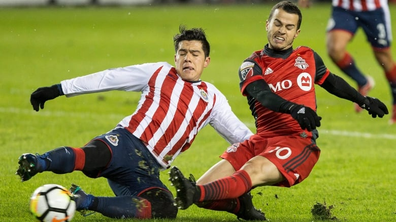 Sebastian Giovinco  Gets A Shot Off At Goal Under Pressure From Michael Perez During Toronto Fcs   Loss To Chivas De Guadalajara In The First Leg Of