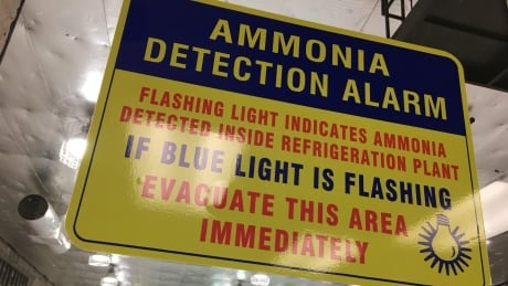 Rink ammonia warning sign, Denman Arena