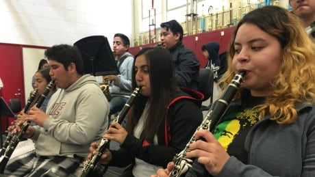 Band rehearsal at Centennial high school in Compton