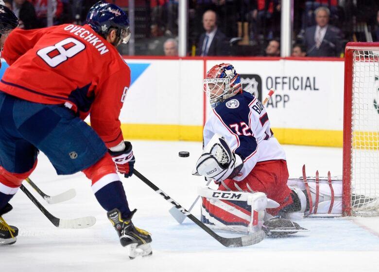 b7cffcf9399 Goalie Sergei Bobrovsky watches the puck as Alex Ovechkin closes in. (Nick  Wass Associated Press)