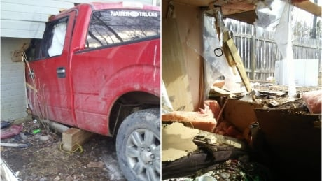 truck crash through La Ronge home