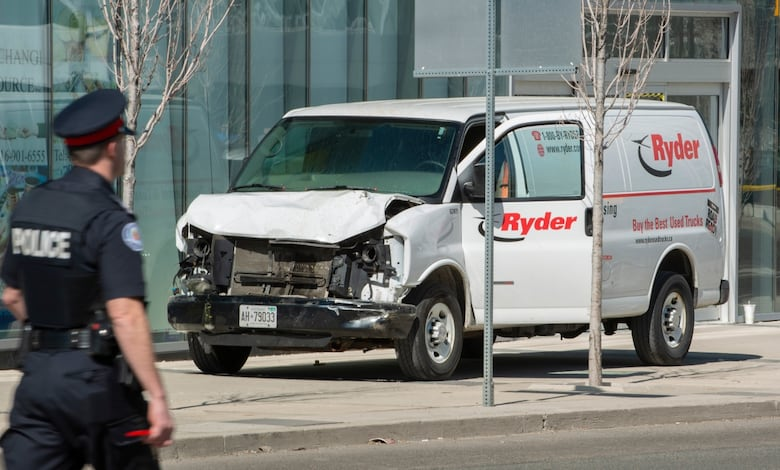 Police inspect a Ryder van suspected of being involved in the collisions injuring numerous people at Yonge and Finch. (Warren Toda/EFE/EPA)