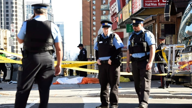 9fef1a393bc62d Police secure an area around a covered body in Toronto