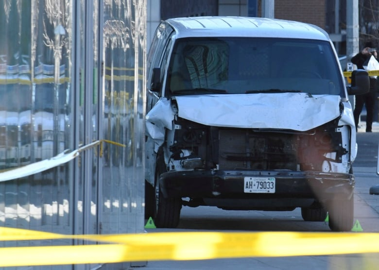 26e059d7af1f75 The damaged van was seized by police after striking multiple people along a  northern stretch of Toronto s busy Yonge Street. (Saul Porto Reuters)