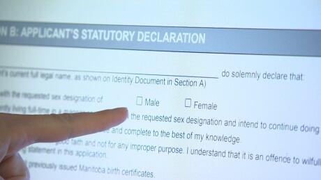Male or female designation on Manitoba Vital Stats site