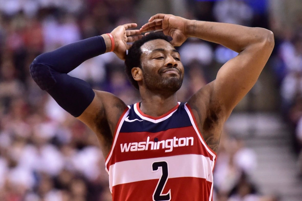 Washington's John Wall reacts after missing a shot during Game 5 on Wednesday
