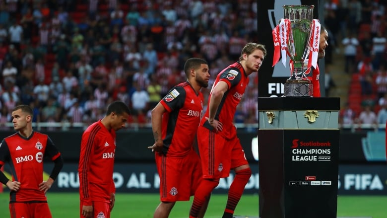 6886dc0bc Toronto FC players react after losing 4-2 on penalties (3-3 on aggregate) to  Chivas in the CONCACAF Champions League final on Wednesday in Guadalajara,  ...