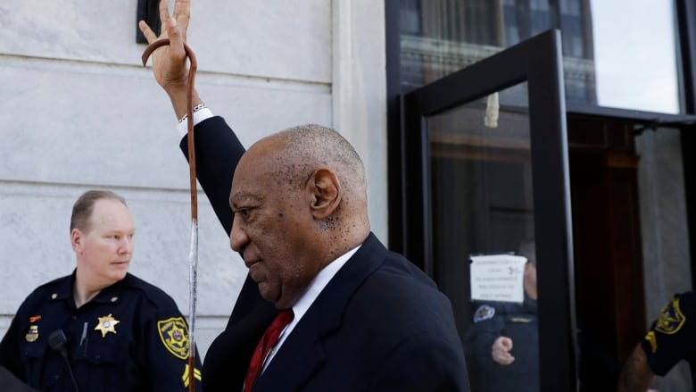 Bill Cosby gestures as he leaves the Montgomery County Courthouse in  Norristown, Penn., after being convicted on Thursday of drugging and  molesting Andrea ...