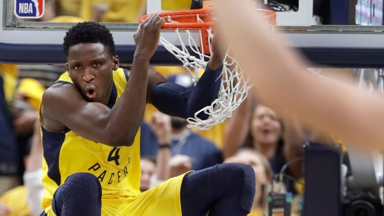 361a248d5f6 Victor Oladipo scores two of his game-high 28 points as the Indiana Pacers  crushed the Cleveland Cavaliers 121-87 on Friday night to force a Game 7.