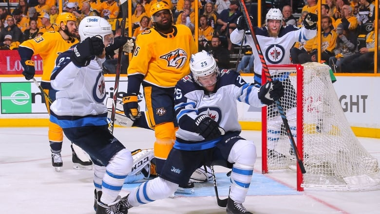 9c7182ad5 Paul Stastny (25) celebrate his goal as the Winnipeg Jets defeated the  Nashville Predators 4-1 in Game 1 of their Western Conference semifinal  series.
