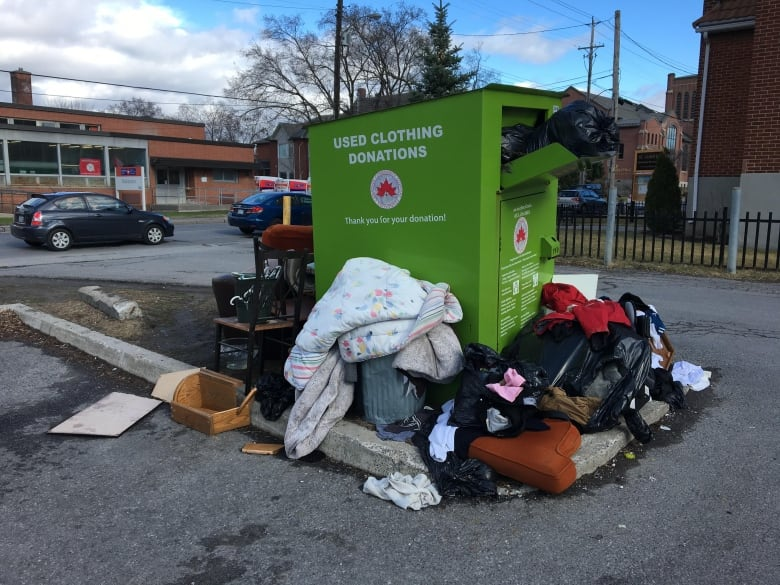 170db4a1722 This clothing donation bin at Parkdale Avenue and Wellington Street W. in  Ottawa was removed because it violated bylaws. Not all bin operators are ...