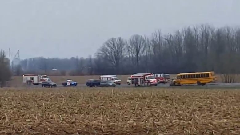 One person dead after collision south of London involving school bus