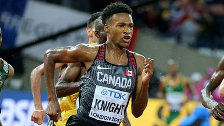 Toronto's Justyn Knight, pictured at a previous event, finished third in the men's 5,000 metres at the Payton Jordan Invitational meet in California.