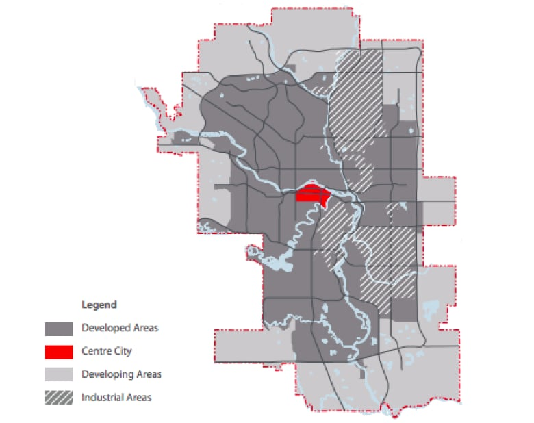 9def8e6ba5a87 How Calgary defines the centre city, developed areas and developing areas.  (City of Calgary)