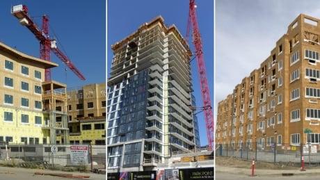 Condo construction collage