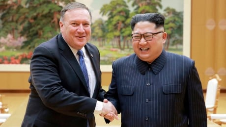 Mike ompeo and Kim Jong Un