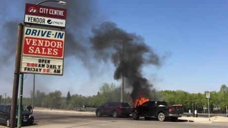 Truck burns near site of massive Brandon blaze