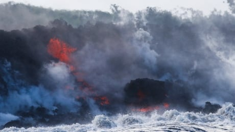 lava from hawaii volcano enters ocean creating toxic cloud