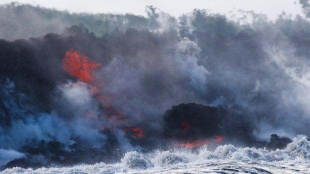 Lava from Hawaii volcano enters ocean, creating toxic cloud