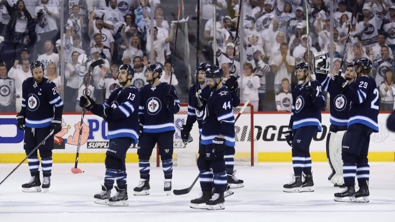 The Winnipeg Jets Salute The Crowd After Falling To The Vegas Golden Knights During Game  Of The Western Conference Finals On Sunday