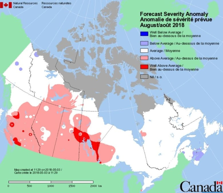 Carte West Canada.Warmer Than Normal Summer Forecast For Most Of B C Cbc News