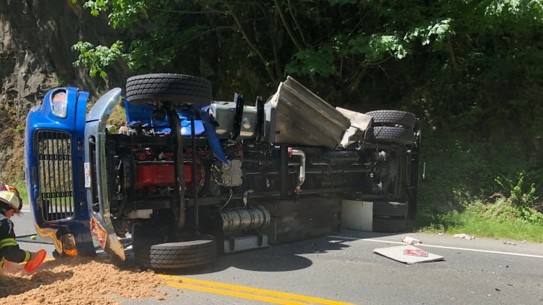 Malahat Highway reopens after fuel truck crash | CBC News