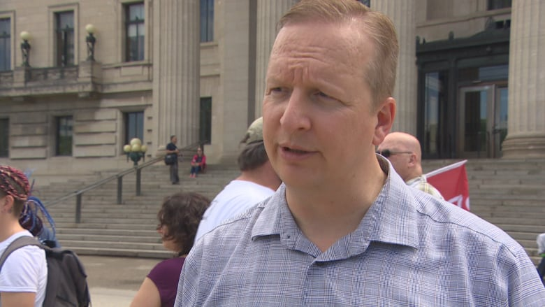 31ed92e2b2c253 Manitoba Federation of Labour president Kevin Rebeck says Premier Brian  Pallister and the Progressive Conservatives have brought in a number of  policies ...
