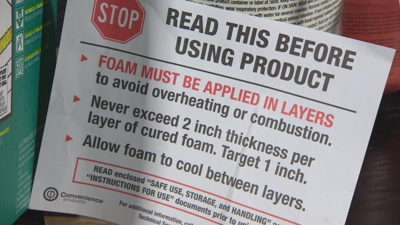 Why you may not want to do it yourself with spray foam insulation these are some of the recommendations found on a spray foam insulation kit that cbc news purchased cbc solutioingenieria Image collections
