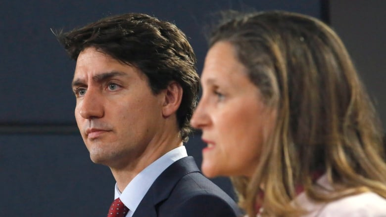 Prime Minister Justin Trudeau and Foreign Affairs Minister Chrystia Freeland speak at a press conference.