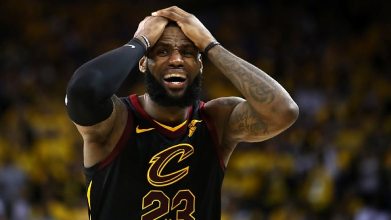 66d0e90fcda LeBron James  reacts during his 51-point performance as the Cleveland  Cavaliers dropped Game 1 of the NBA Finals to the Golden State Warriors in  overtime.