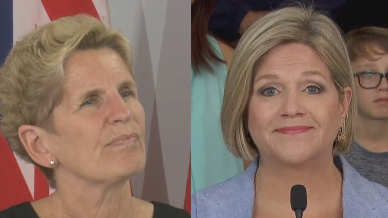 Liberal Leader Kathleen Wynne, left, and NDP Leader Andrea Horwath are both  pushing hard to convince undecided, left-leaning voters that their  respective ...