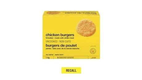 No Name Chicken Burger Recall