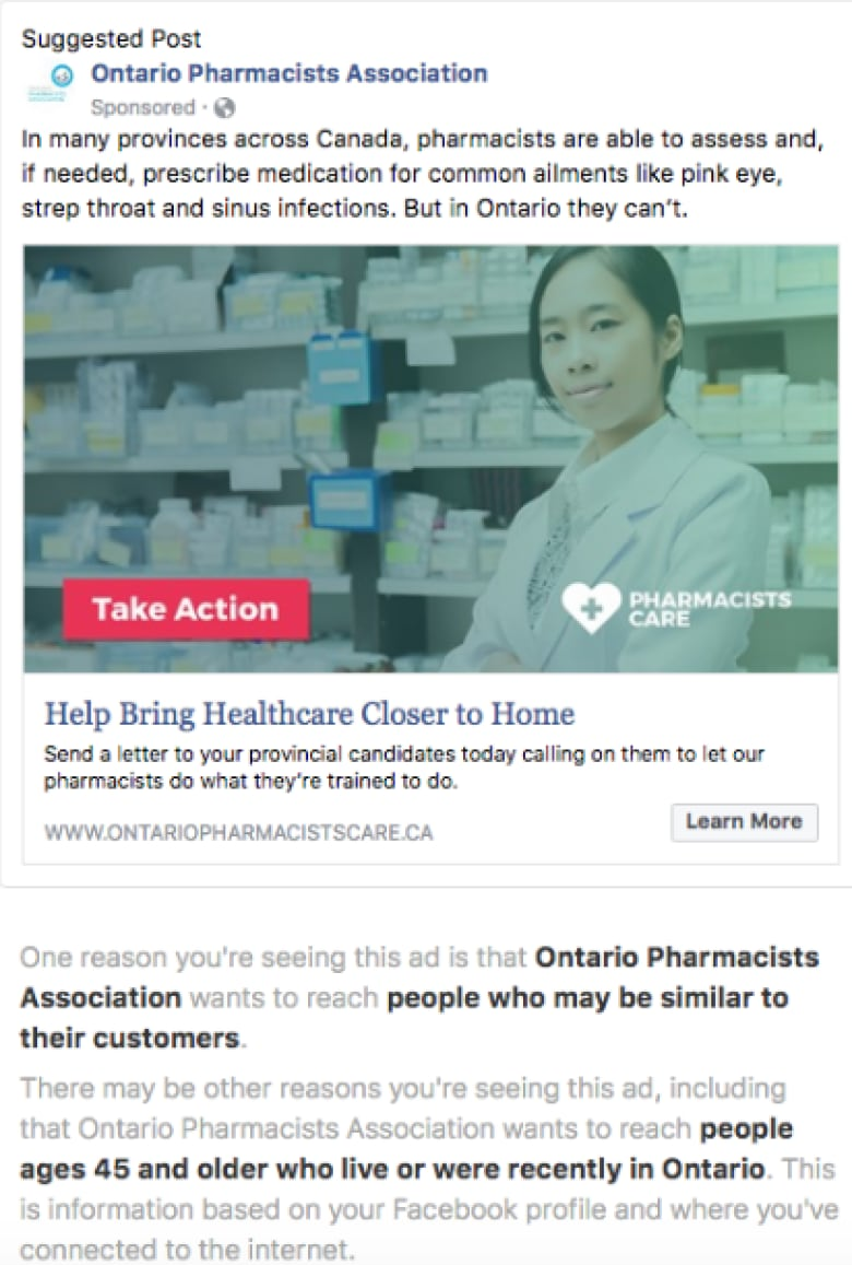 Unregistered groups targeting Ontario voters with online ads | CBC News
