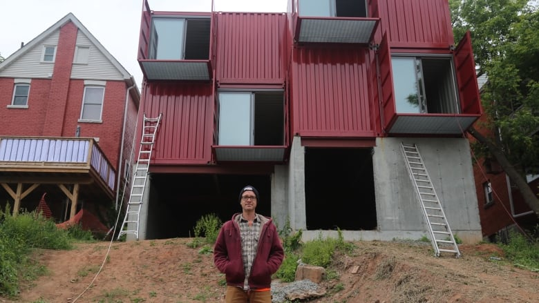 hamilton is delivered its first shipping container home cbc news. Black Bedroom Furniture Sets. Home Design Ideas