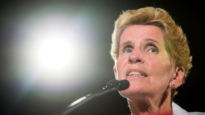 Kathleen Wynne announces to supporters that she is resigning as Liberal  Party leader during her election night event at York Mills Gallery in  Toronto on ...