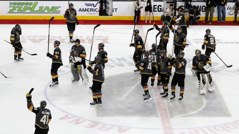 7671c9e2988 The Vegas Golden Knights salute the fans after their 4-3 loss to the  Washington Capitals in Game 5 of the Stanley Cup Final on Thursday night.