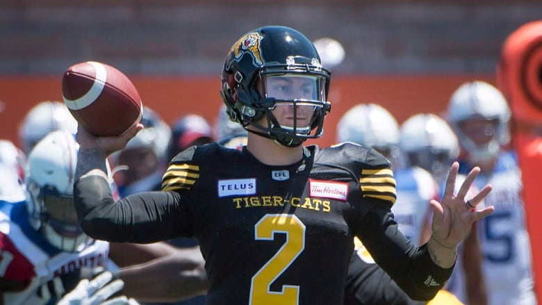 Hamilton Tiger-Cats quarterback Johnny Manziel throws the ball during first  half preseason CFL football action against the Montreal Alouettes in  Montreal on ... 342b2035b