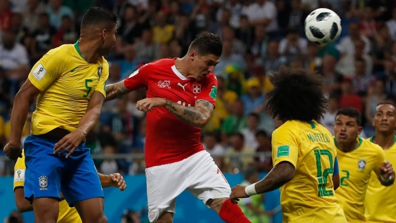 Switzerlands Steven Zuber Headed In The Tying Goal In A   Draw With Brazil At The World Cup Darko Vojinovic Associated Press