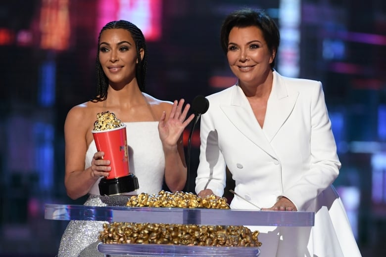 Kim Kardashian, left, and Kris Jenner took the stage to accept the Best Reality Series or Franchise trophy for Keeping Up with the Kardashians.(Kevin Winter/Getty Images for MTV)