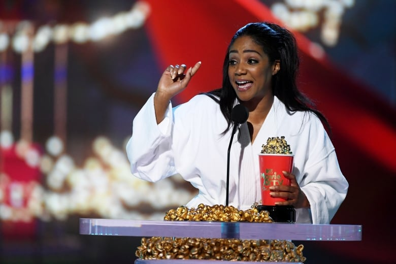 Haddish also received an award for Best Comedic Performance for her breakout turn in Girls Trip.(Kevin Winter/Getty Images for MTV)