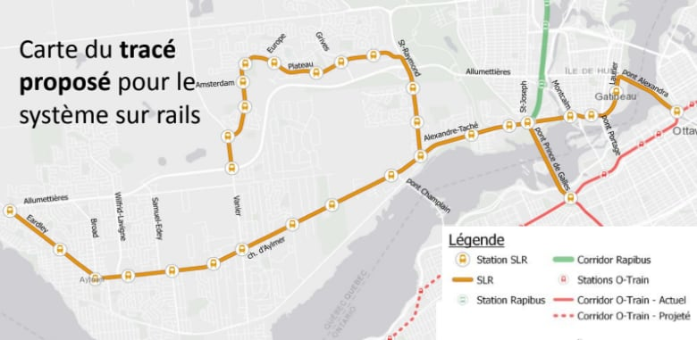 the proposal includes two links crossing the ottawa river, connecting to  the confederation line at rideau and bayview stations  (city of gatineau)