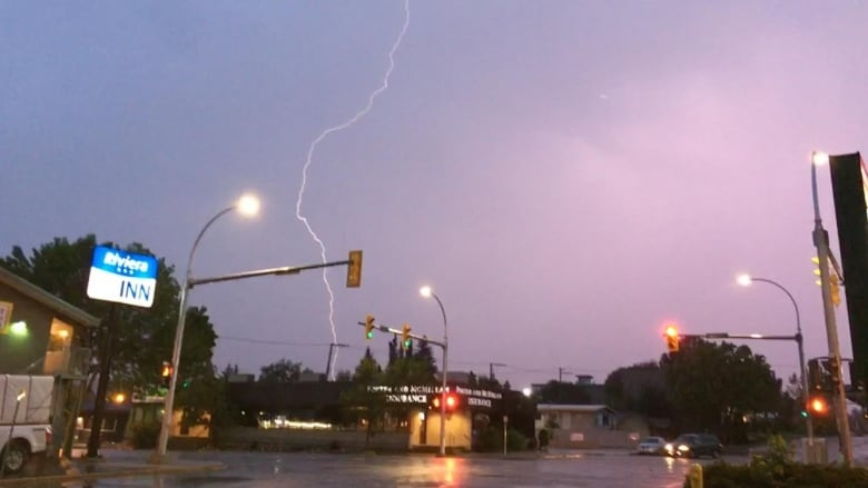 Lightning Strikes In Downtown Prince George Early Thursday. (Nicole Oud/CBC)