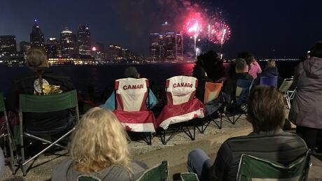 Fireworks along Detroit River