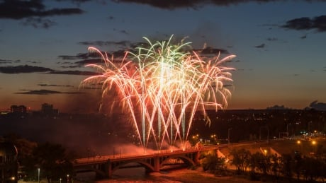 Fireworks over the Centre Street Bridge in Calgary, July 2017.
