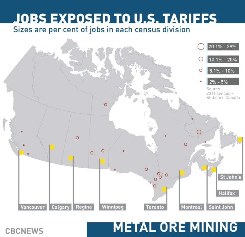 These are the places most vulnerable to U S  tariffs | CBC News