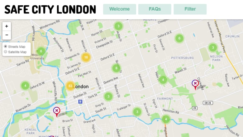 Map City London.Women Asked To Pinpoint Where They Feel Unsafe Cbc News